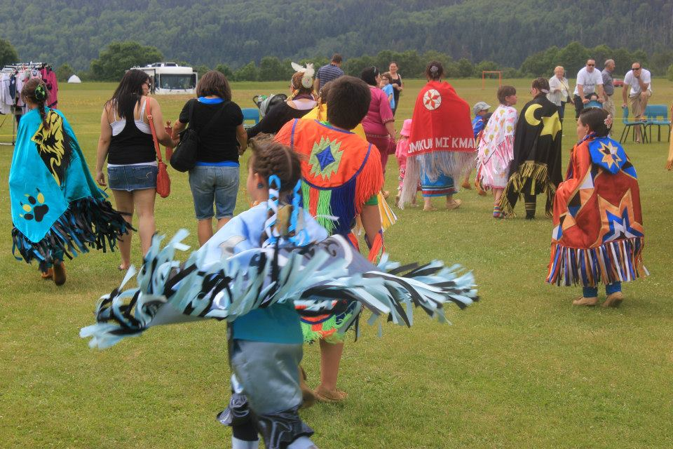 Violence Prevention Avalon East in St. John's, NL: A group of people from Conne River at a Miawpukek Traditional Powwow, 2013.