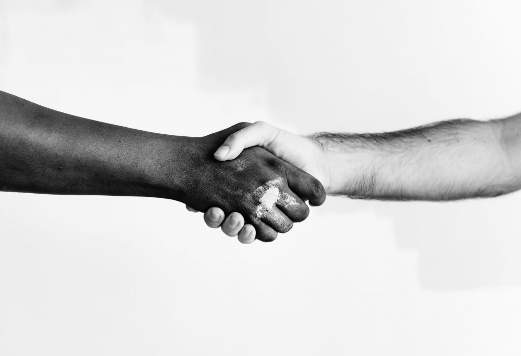 Violence Prevention Avalon East, NL: Black and white image of an African American and Caucasian arm extending outwards to shake hands, on a white background